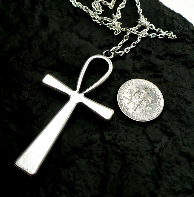 silver ankh necklace large ankh on chain everyday