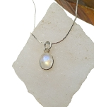 Rainbow Moonstone Necklace, Sterling Silver Genuine Moonstone Necklace, Small Gemstone Drop Necklace