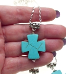 Turquoise Cross Necklace - Everyday Silver Spiritual Jewelry