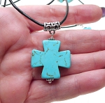 Turquoise Cross Leather Necklace - Everyday Gemstone Jewelry