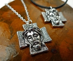 Silver Jesus Necklace, Jesus on Cross Pendant Necklace, Faith Jewelry, Christian Gift Religious Jewelry Tibetan Silver, Choice