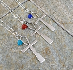 Ankh Necklace, Egyptian Jewelry, Large Ankh Key Of Life Chain Necklace with Gemstone Lapis, Turquoise or Carnelian