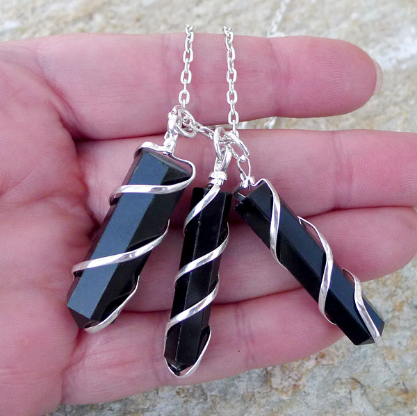 Black Obsidian Necklace Spiral Wrapped Black Obsidian