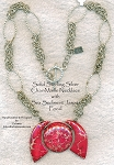 MOON PHASE Solid Sterling Silver Chainmaille Necklace with Pink Sea Sediment Jasper OOAK