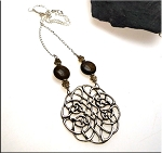 Celtic Knot with Bronzite Gemstone and Smokey Quartz Necklace, Solid Sterling Silver