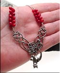 Celtic Mermaid with Red Dogbone Coral Necklace in Solid Sterling Silver