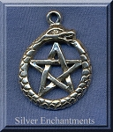 Sterling Silver Ouroboros Pentacle Pendant, Snake Pentagram Jewelry, 29x22mm