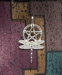 Sterling Silver Dragonfly Pentacle Pendant, Bailed