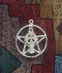 Sterling Silver Celtic Cross Pentacle Necklace, Pentagram with Cross Pendant, Christo-Pagan Jewelry