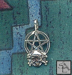 Sterling Silver Bailed Skull and Crossbones Pirate Pentacle Pendant