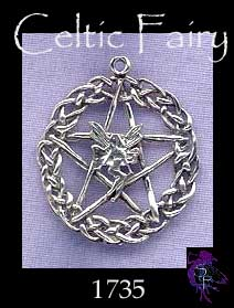 Sterling Silver Celtic Fairy Pentacle Pendant, Pagan Jewellery, Hidden Pentagram Necklace