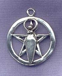 Goddess Pentacle Pendant, Sterling Silver Goddess Pentacle Necklace Pendant