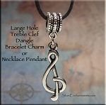 Musician Jewelry, Treble Clef Large Hole Dangle Pendant, European Style