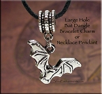 Bat Large Hole Dangle Charm Pendant, Add a Bead Jewelry