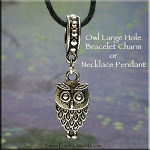 Owl Large Hole Bracelet Charm or Necklace Pendant, European Style Big Hole Bead