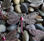 Silver Dragonfly Jewelry Centerpiece with Garnet Ruby Patina