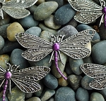Silver Dragonfly Jewelry Centerpiece with Metallic Purple Patina