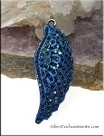 Angel Wing Pendant with Midnight Blue Fairy Sparkle Patina