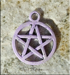 Pentacle Charm, Pentagram Charm with Lavender Patina