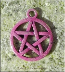 Pentacle Charm, Pentagram Charm with Violet Amethyst Patina, Pagan Jewelry