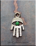 Small Hamsa Charm, Jade Patina Evil Eye Jewelry