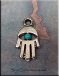 Small Hamsa Charm, Verdigris Patina Evil Eye Jewelry