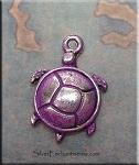 Turtle Charm, Purple Patina