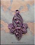 Ornate Fleur d'Lys Charm with Purple Patina