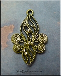 Ornate Fleur d'Lys Charm-Pendant Necklace, Olive Moss Patina