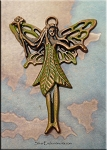 Large Copper Green Nature Fairy Pendant, Olive Moss Patina