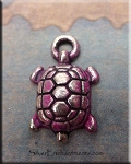 Small Turtle Charm with Fuchsia Pink Patina