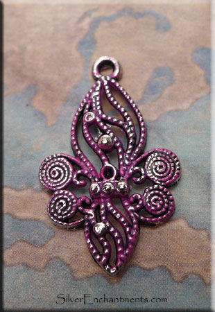 Ornate Fleur d'Lys Pendant with Fuchsia Pink Patina