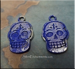 Day of the Dead Skull Charm, Blue Sapphire Patina