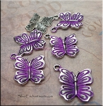Butterfly Charm with Amethyst Patina