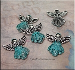 Ornate Turquoise Angel Necklace with Verdigris Patina
