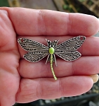 Dragonfly Jewelry Centerpiece with Metallic Iced Peridot Patina