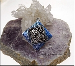 Hammered Floral Scroll Pendant with Blue Shimmer Patina