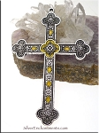 Silver Large Cross Pendant with Canary Yellow Shimmer Patina