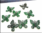 Fancy Butterfly Charm with Jade Patina