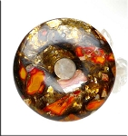 Orange Sea Sediment Jasper and Bronzite Composite Donut, 50mm