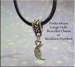 Moon Large Hole Bracelet Charm or Necklace Pendant, European-style Jewelry