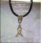 Awareness Ribbon Large Hole Bracelet Charm or Necklace Pendant, European-style