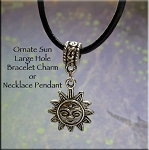 Sun Large Hole Bracelet Charm or Necklace Pendant, European-type