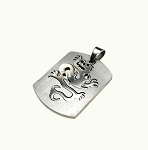 Steel Dragon Pendant Fantasy Dragon Dog-tag Necklace Jewelry