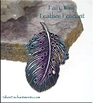 Fairy Wing Feather Pendant, Purple and Teal Patina