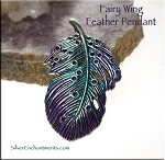 Fairy Wing Feather Pendant, Teal and Purple Patina