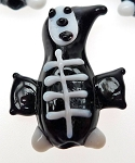 Skeleton Lampworked Glass Beads, Halloween Beads (5) - CLEARANCE
