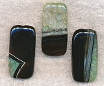 Druzy Agate Focal Pendant Bead, BLACK and GREEN, 40x20mm