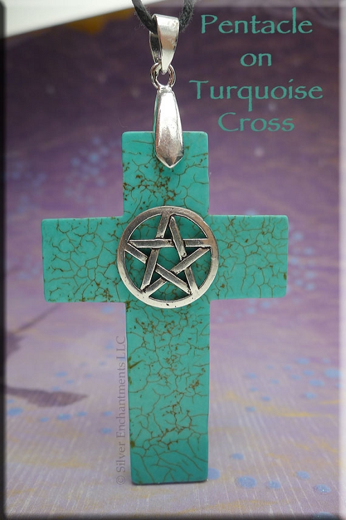 Soldout Turquoise Pentacle On Cross Pendant Pagan