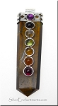 Chakra Pendant Tiger Eye Gemstone Point Pendant with 7 Chakra Gemstone Cabochons